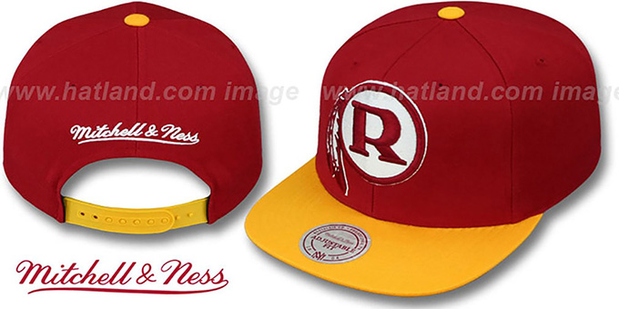Redskins '2T XL-LOGO SNAPBACK 2' Burgundy-Gold Adjustable Hat by Mitchell and Ness : pictured without stickers that these products are shipped with