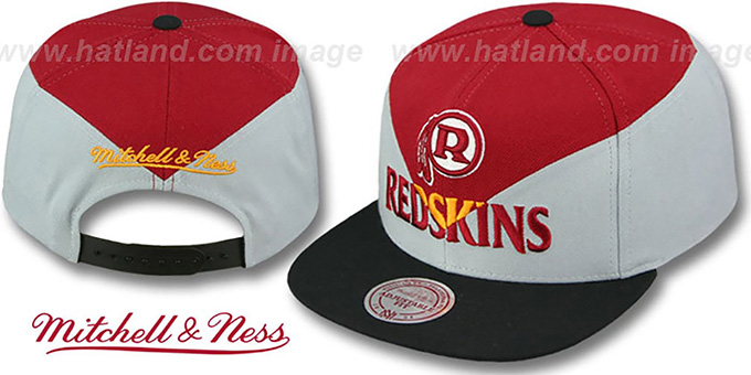 Redskins 'AMPLIFY DIAMOND SNAPBACK' Burgundy-Grey Hat by Mitchell and Ness : pictured without stickers that these products are shipped with