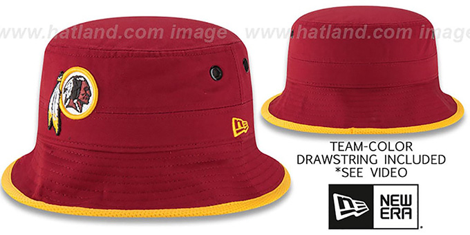 Redskins 'BASIC-ACTION' Burgundy Bucket Hat by New Era : pictured without stickers that these products are shipped with
