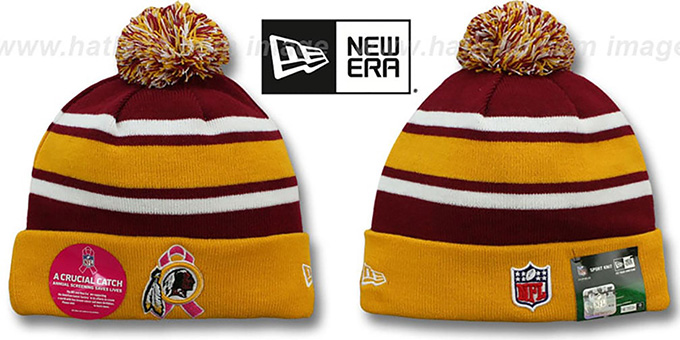 Redskins 'BCA CRUCIAL CATCH' Knit Beanie Hat by New Era : pictured without stickers that these products are shipped with