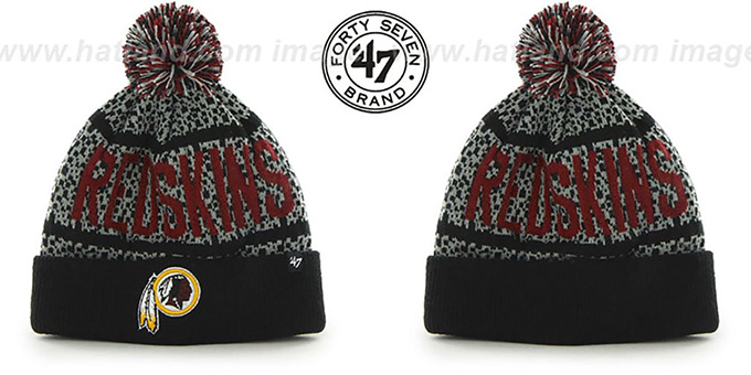 Redskins 'BEDROCK' Black-Grey Knit Beanie Hat by Twins 47 Brand : pictured without stickers that these products are shipped with