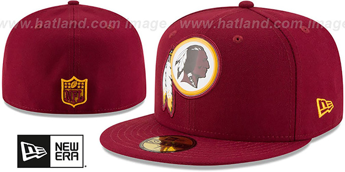 Redskins 'BEVEL' Burgundy Fitted Hat by New Era : pictured without stickers that these products are shipped with