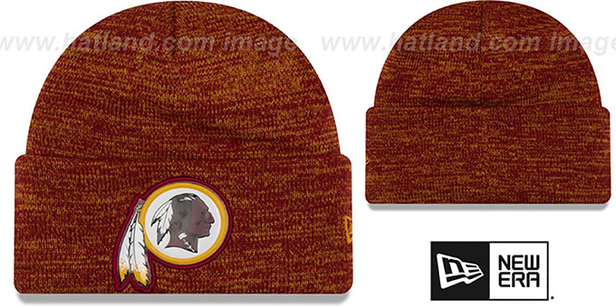 Redskins 'BEVEL' Burgundy-Gold Knit Beanie Hat by New Era : pictured without stickers that these products are shipped with