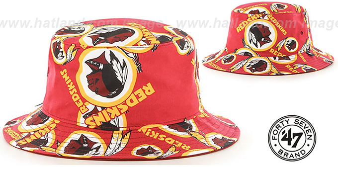 Redskins 'BRAVADO BUCKET' Hat by Twins 47 Brand : pictured without stickers that these products are shipped with