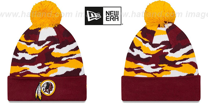Redskins 'CAMO CAPTIVATE' Knit Beanie Hat by New Era : pictured without stickers that these products are shipped with
