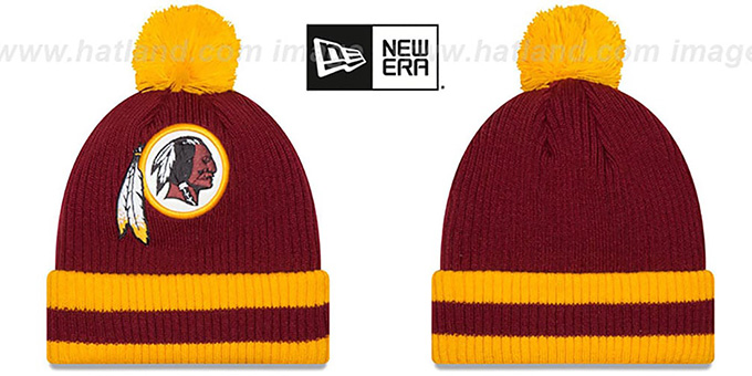Redskins 'CHILLER FILLER BEANIE' Burgundy-Gold by New Era : pictured without stickers that these products are shipped with