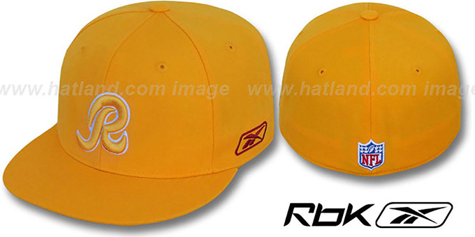 Redskins 'COACHES' Gold Fitted Hat by Reebok : pictured without stickers that these products are shipped with