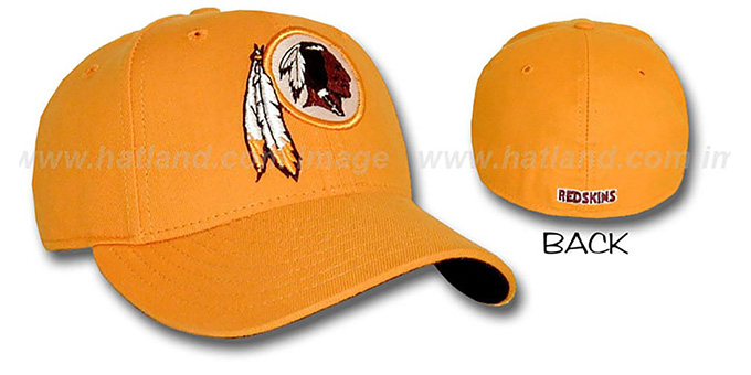 Redskins 'COLORS' Fitted Hat by New Era - gold : pictured without stickers that these products are shipped with