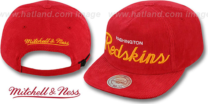 Redskins 'CORD-SCRIPT STRAPBACK' Burgundy Hat by Mitchell and Ness : pictured without stickers that these products are shipped with
