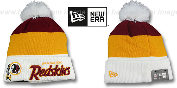 Redskins 'CUFF-SCRIPTER' White-Gold-Burgundy Knit Beanie Hat by New Era : pictured without stickers that these products are shipped with