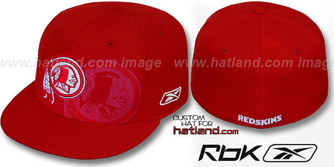 Redskins 'DOUBLEHEADER' Red-White Fitted Hat by Reebok : pictured without stickers that these products are shipped with