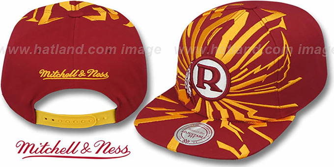 Redskins 'EARTHQUAKE SNAPBACK' Burgundy Hat by Mitchell and Ness : pictured without stickers that these products are shipped with