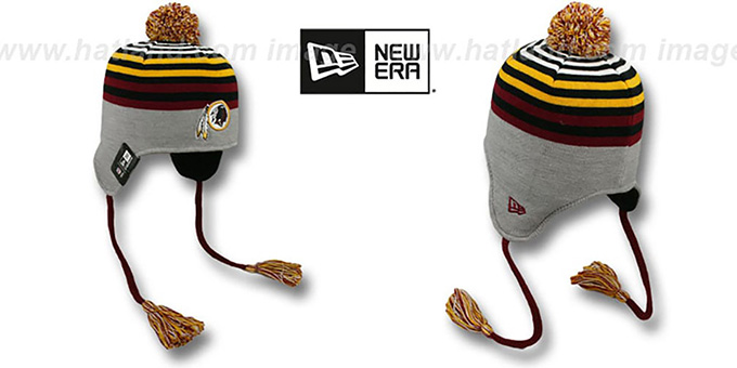 Redskins 'GREY STRIPETOP' Knit Beanie Hat by New Era : pictured without stickers that these products are shipped with