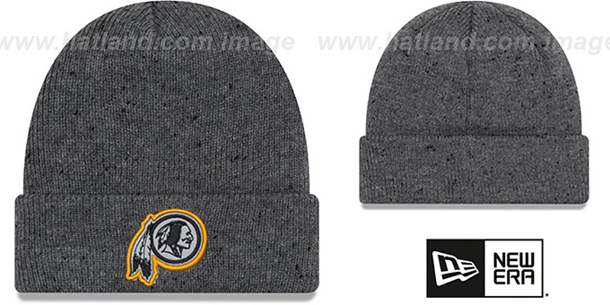 Redskins 'HEATHERED-SPEC' Grey Knit Beanie Hat by New Era : pictured without stickers that these products are shipped with