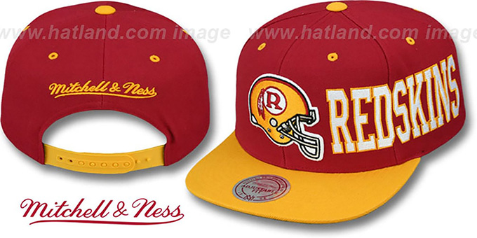 Redskins 'HELMET-WORDWRAP SNAPBACK' Burgundy-Gold Hat by Mitchell and Ness : pictured without stickers that these products are shipped with