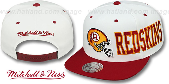 Redskins 'HELMET-WORDWRAP SNAPBACK' White-Burgundy Hat by Mitchell and Ness : pictured without stickers that these products are shipped with