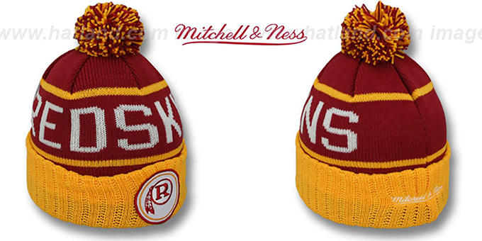 Redskins 'HIGH-5 CIRCLE BEANIE' Burgundy-Gold by Mitchell and Ness : pictured without stickers that these products are shipped with