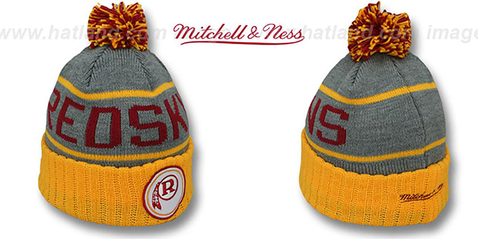 Redskins 'HIGH-5 CIRCLE BEANIE' Grey-Gold by Mitchell and Ness : pictured without stickers that these products are shipped with