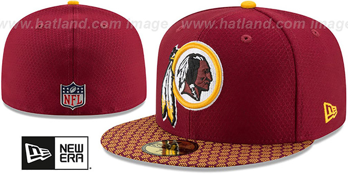 fd496aa6d54 Redskins  HONEYCOMB STADIUM  Burgundy Fitted Hat by New Era