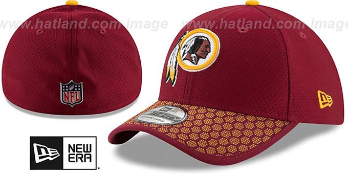 39a9a0a91 Redskins  HONEYCOMB STADIUM FLEX  Burgundy Hat by New Era