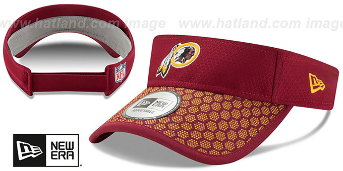 Redskins 'HONEYCOMB STADIUM VISOR' Burgundy by New Era : pictured without stickers that these products are shipped with