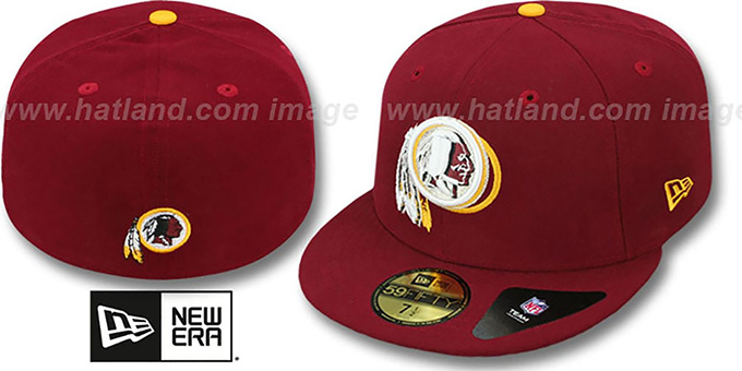 Redskins 'ILLUSION' Burgundy Fitted Hat by New Era : pictured without stickers that these products are shipped with