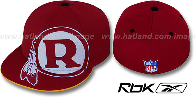 Redskins 'INVINCIBLE' Fitted Hat by Reebok - burgundy : pictured without stickers that these products are shipped with