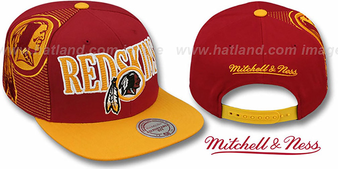 Redskins 'LASER-STITCH SNAPBACK' Burgundy-Gold Hat by Mitchell and Ness : pictured without stickers that these products are shipped with