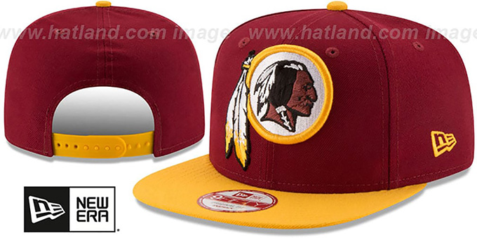 Redskins 'LOGO GRAND REDUX SNAPBACK' Burgundy-Gold Hat by New Era : pictured without stickers that these products are shipped with