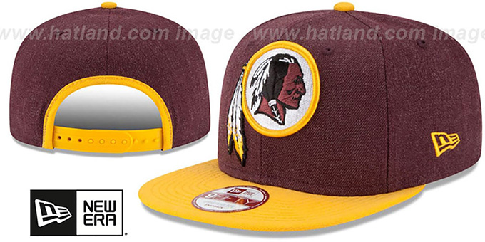 Redskins 'LOGO GRAND SNAPBACK' Burgundy-Gold Hat by New Era : pictured without stickers that these products are shipped with