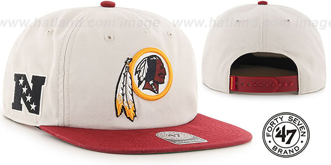 Redskins 'MARVIN SNAPBACK' Ivory-Burgundy Hat by Twins 47 Brand : pictured without stickers that these products are shipped with