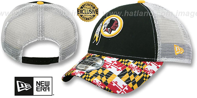 Washington Redskins MARYLAND-FLAG LC 940 MESHBACK Black-White Hat 743ba3510c9