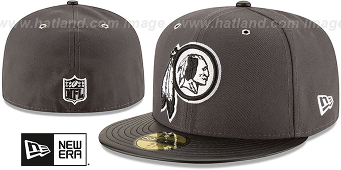 Redskins 'METAL HOOK' Grey-Black Fitted Hat by New Era : pictured without stickers that these products are shipped with