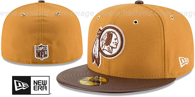 Redskins 'METAL HOOK' Wheat-Brown Fitted Hat by New Era : pictured without stickers that these products are shipped with