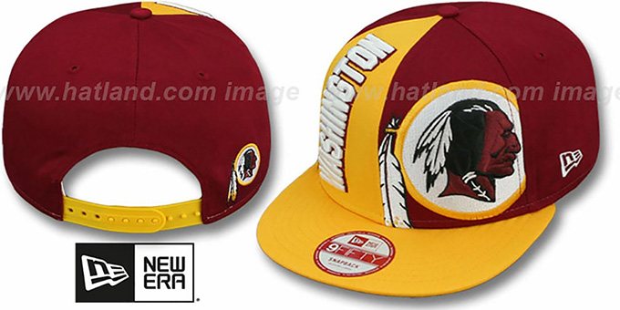 Redskins 'NE-NC DOUBLE COVERAGE SNAPBACK' Hat by New Era : pictured without stickers that these products are shipped with