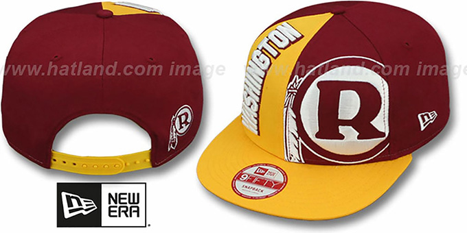 Redskins 'NE-NC THROWBACK DOUBLE COVERAGE SNAPBACK' Hat by New Era : pictured without stickers that these products are shipped with