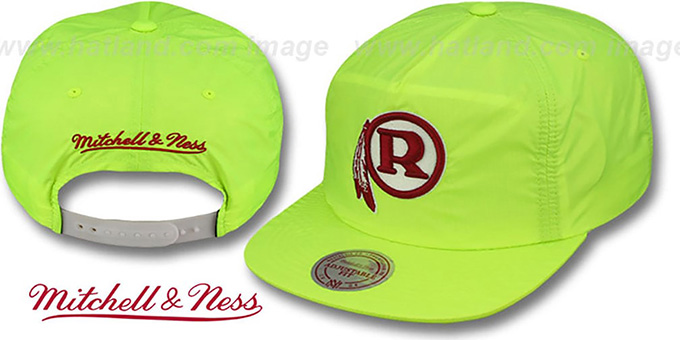 Redskins 'NEON CAMPER SNAPBACK' Lime Hat by Mitchell and Ness : pictured without stickers that these products are shipped with