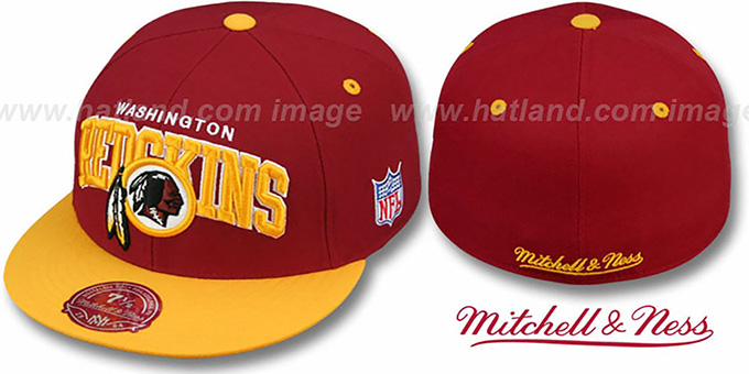 Redskins 'NFL 2T ARCH TEAM-LOGO' Burgundy-Gold Fitted Hat by Mitchell & Ness : pictured without stickers that these products are shipped with