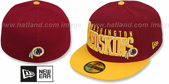 Redskins 'NFL 2T CHOP-BLOCK' Burgundy-Gold Fitted Hat by New Era : pictured without stickers that these products are shipped with