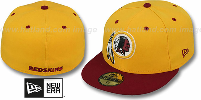 best service 3510a e860f Redskins  NFL 2T-TEAM-BASIC  Gold-Burgundy Fitted Hat by New