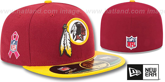 Redskins 'NFL BCA' Burgundy-Gold Fitted Hat by New Era : pictured without stickers that these products are shipped with