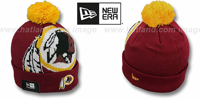 Redskins 'NFL-BIGGIE' Burgundy Knit Beanie Hat by New Era : pictured without stickers that these products are shipped with