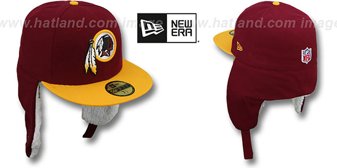 Redskins 'NFL-DOGEAR' Burgundy-Gold Fitted Hat by New Era : pictured without stickers that these products are shipped with