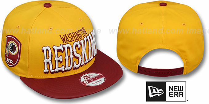 Redskins 'NFL ENGLISH-WORD SNAPBACK' Gold-Burgundy Hat by New Era : pictured without stickers that these products are shipped with