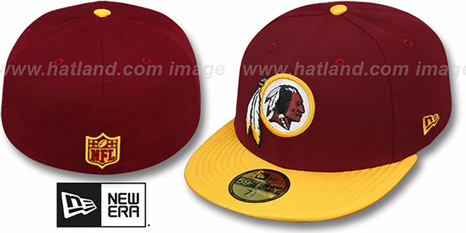 Redskins 'NFL JERSEY-BASIC' Burgundy-Gold Fitted Hat by New Era : pictured without stickers that these products are shipped with
