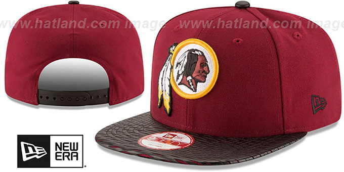Redskins 'NFL LEATHER-RIP SNAPBACK' Burgundy-Black Hat by New Era : pictured without stickers that these products are shipped with