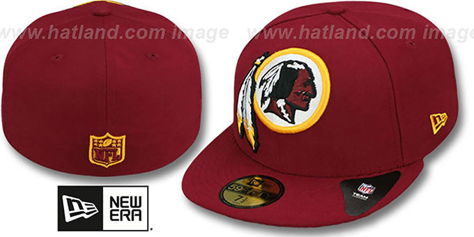 Redskins NFL 'MIGHTY-XL' Burgundy Fitted Hat by New Era : pictured without stickers that these products are shipped with