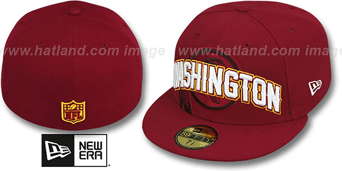 Redskins 'NFL ONFIELD DRAFT' Burgundy Fitted Hat by New Era : pictured without stickers that these products are shipped with