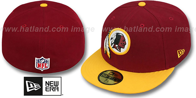 Redskins 'NFL STADIUM' Burgundy-Gold Fitted Hat by New Era : pictured without stickers that these products are shipped with