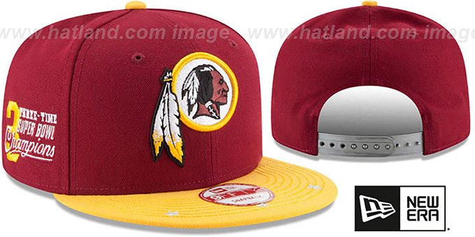 Redskins 'NFL STAR-TRIM SNAPBACK' Burgundy-Gold Hat by New Era : pictured without stickers that these products are shipped with